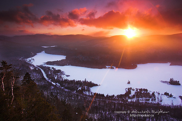 Winter on Lac Monroe from the La Roche summit of Parc National du Mont-Tremblant