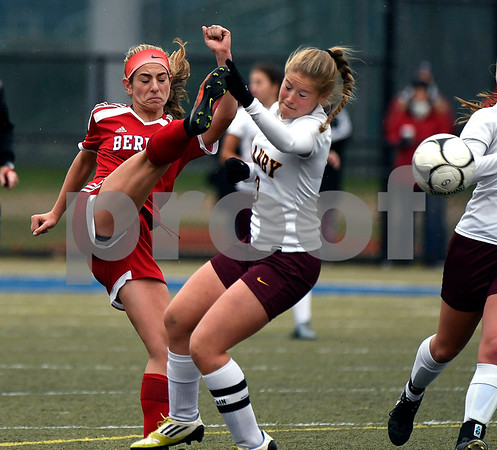 11/18/2017 Mike Orazzi | Staff Berlin's Julia Sisti (3) and Granby Memorial's Madeline Attianese (3) during the Class M Final at Municipal Stadium in Waterbury Saturday. Granby won 3-0.