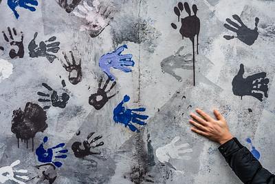 Hand on the Berlin Wall.