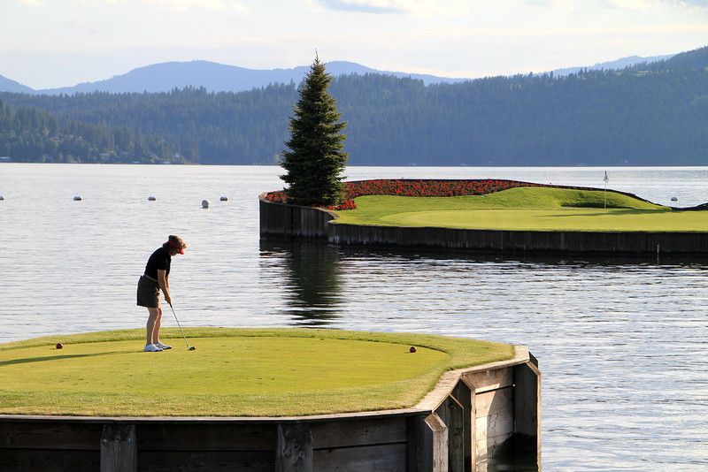 The Couer d'Alene Resort, Couer d'Alene, ID - Hole #14 - World's only floating green, and yes she made it