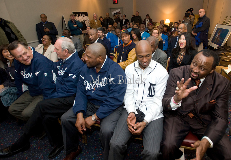 From left, Detroit Tigers third base coach Gene Lamont, Manager Jim Leyland, batting coach Lloyd McClendon, outfielder Austin Jackson, and boxing great Tommy Hearns, attend a presentation at the Joe Louis Video Memorial Room in Cobo Hall in Detroit on Jan 20, 2012.