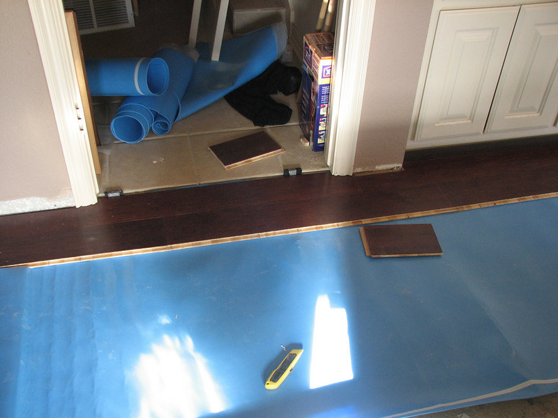 Close up of the flooring installed in the entry door. Note it slides under the door jamb and molding.