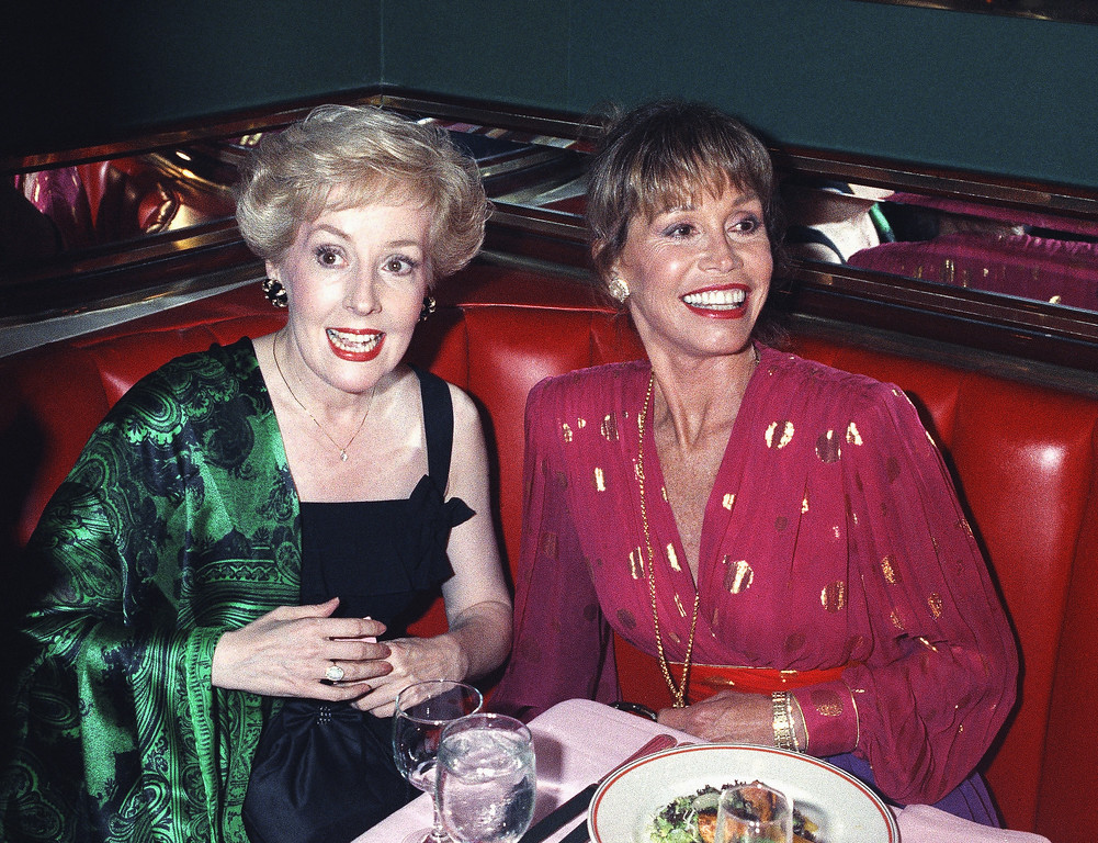 . Mary Tyler Moore, right, is joined by former �Mary Tyler Moore Show� co-star Georgia Engel, who played Georgette, at New York�s Russian Tea Room, Aug. 30, 1992. The two reunited during an Emmy Awards screening party Moore hosted at the famous New York restaurant. (AP Photo/Malcolm Clarke)