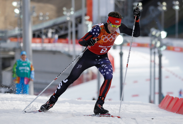 . United States\' Bryan Fletcher skis during the cross-country portion of the Nordic combined Gundersen large hill team competition at the 2014 Winter Olympics, Thursday, Feb. 20, 2014, in Krasnaya Polyana, Russia. (AP Photo/Gregorio Borgia)
