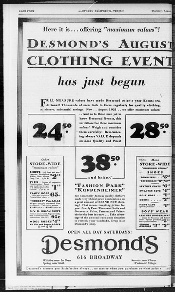 Southern California Trojan, Vol. 10, No. 14, August 07, 1931