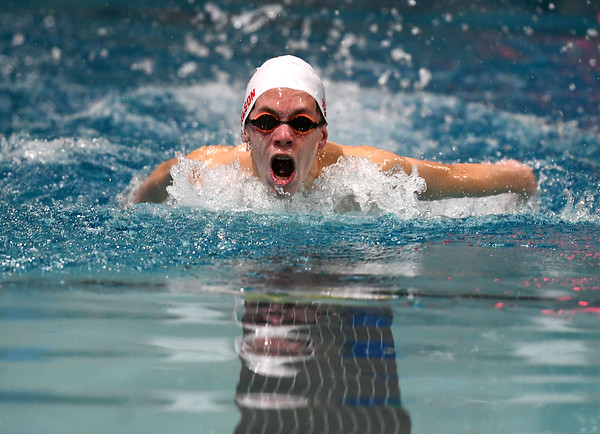 1/7/2020 Mike Orazzi | StaffrBristol swimmer Tyler Wilson in the 200 IM against Hall High School in Bristol.