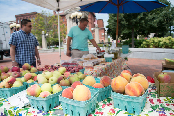 08/13/19 Wesley Bunnell | Staff Fresh fruit for sale at the Dondero Orchard table at the New Britain farmers market on Wednesday August 14, 2019 at Central Park.