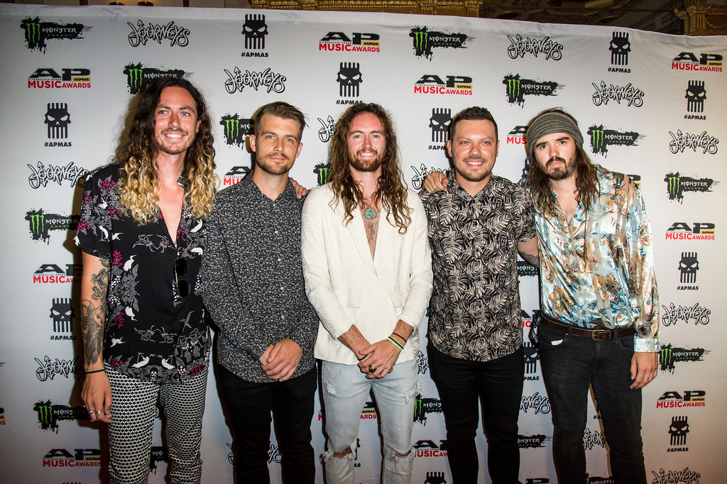 . Alexander Pearson, from left, Trenton Woodley, Joel Tyrrell, Matt Parkitney and Matt Cooper of Hands Like Houses seen at 2017 Alternative Press Music Awards at the KeyBank State Theatre on Monday, July 17, 2017, in Cleveland. (Photo by Amy Harris/Invision/AP)