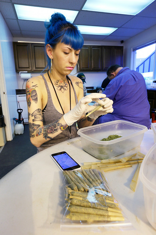 . In this photo taken July 1, 2014, Stevie Askew, a worker at Sea of Green Farms, packs recreational marijuana into blunts that will be sold in stores when legal recreational pot sales begin Tuesday, July 8, in Washington state. (AP Photo/Ted S. Warren)