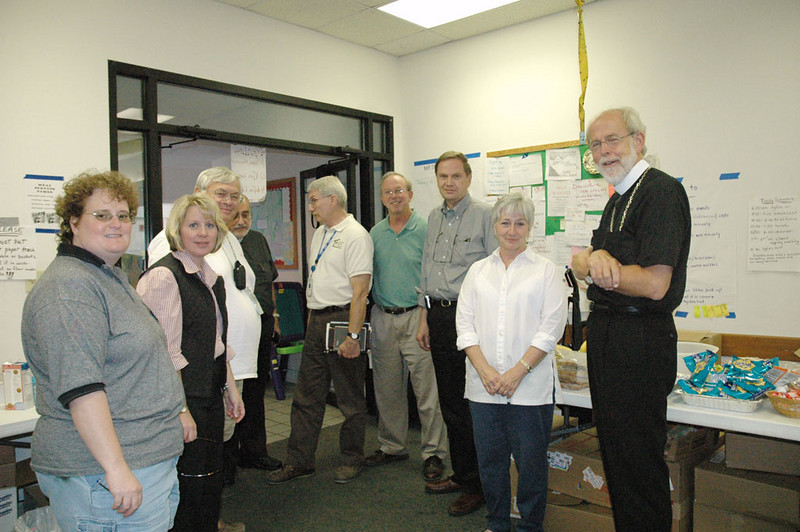 ELCA Presiding Bishop Mark S. Hanson (far right) met with members of Christus Victor Lutheran Church, Ocean Springs, Miss., local Lutheran Disaster Response coordinators and others Sept. 21 to learn more about Lutherans working to meet the needs of hurricane survivors. John Gilbert (third from right), former board chair, Thrivent Financial For Lutherans, and Heather L. Feltman, (second from left), director for Lutheran Disaster Response and director for ELCA Domestic Disaster Response, accompanied Hanson.