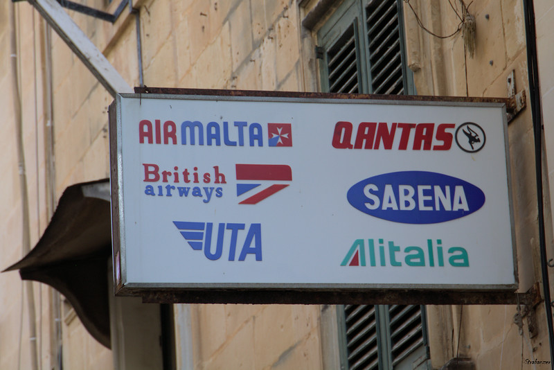 Valletta, Malta.   Travel Agency Sign SABENA ?  Not since 2001!     UTA ?   Not since 1992! 03/24/2019 This work is licensed under a Creative Commons Attribution- NonCommercial 4.0 International License