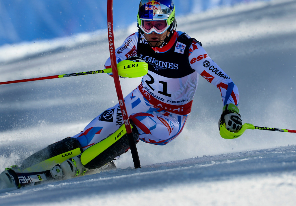 . BEAVER CREEK, CO - FEBRUARY 8: Alexis Pinturault of France runs the course at the Men\'s slalom portion of the Men\'s alpine combined race at the FIS Alpine World Ski Championships in Beaver, CO. February 8, 2015. = (Photo By Helen H. Richardson/The Denver Post)