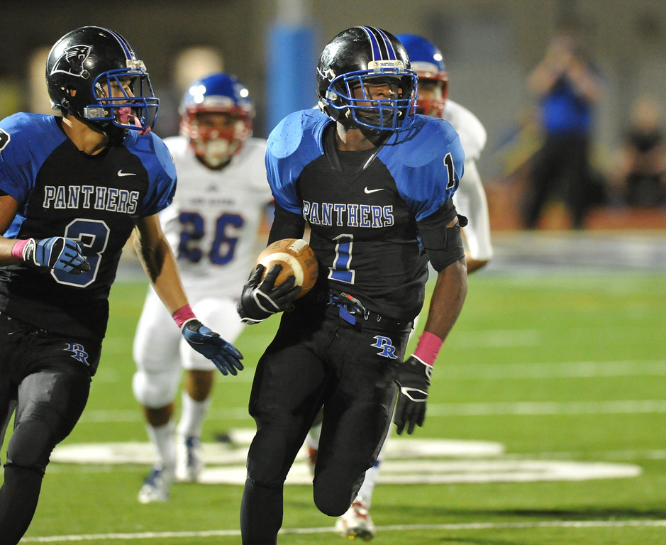 . Diamond Ranch\'s Will Bryan (#1) runs for 60-yards on a kickoff return as they play Los Altos in their Hacienda League opener football game at Diamond Ranch High School in Pomona on Friday October 4, 2013. (San Gabriel Valley Tribune/Staff Photo by Keith Durflinger)