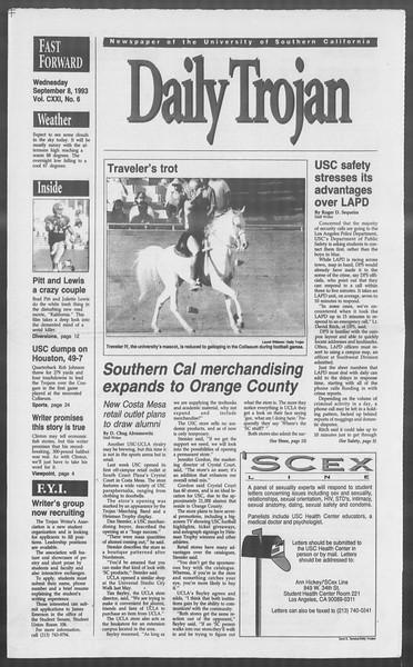 Daily Trojan, Vol. 121, No. 6, September 08, 1993