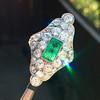 3.50ctw Art Deco Emerald and Old European Cut Diamond Dinner Ring 12