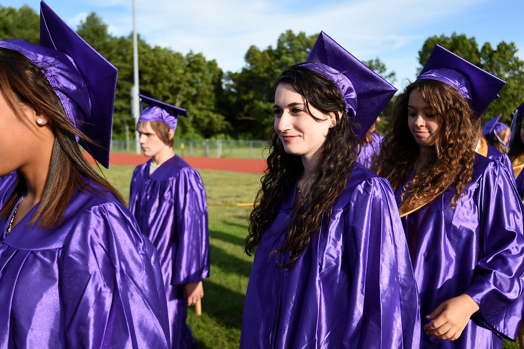 . Kayla Rice/Reformer Graduating senior Maya Stoller files in with the rest of the class of 2014 during the BUHS graduation ceremony on Friday evening.
