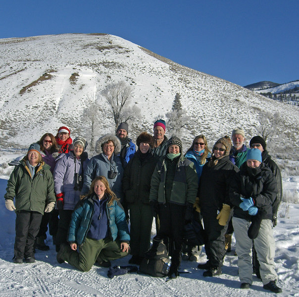 Yellowstone Winter Wolf Retreat:  kneeling: Linda Thurston; (front row, left to right): Debbie Shepherd, Douglass Swanson, Claire Lohr, Jeri Edwards, Cindy Crellin, Linda Seaman, Heather Durgin, (back row, left to right): Victoria Sale-Kanney, Nancy Winslow, Nathan Varley, Doug Webber, Sue Kneller, Chuck, Jesse Durgin