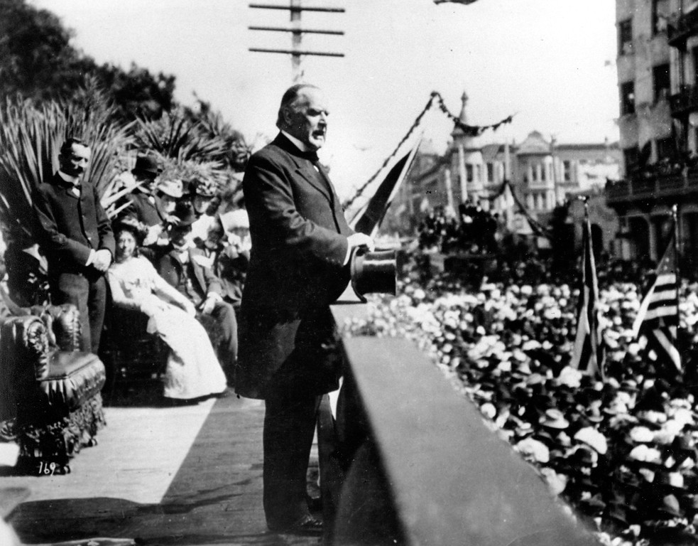. Gov. of Ohio William McKinley makes a campaign speech during the U.S. presidential elections in 1896.  The location is unknown. McKinley, who became the 25th president in 1897, was the first presidential candidate to effectively tap big corporate campaign donors.  (AP Photo)