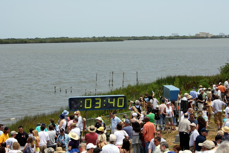 The crowd is still in awe, T plus 3 minutes and 40 seconds after liftoff