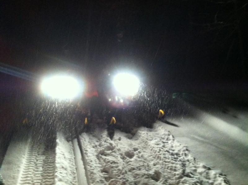 Fresh snow 1-28-13. Corey and big Ern out enjoying a fresh six inches  midnight ride