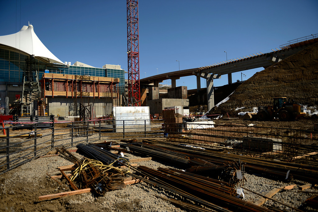 . Bridge supports and foundations take shape at the Denver International Airport South Terminal Redevelopment Program as the train station and the Westin Hotel and conference center are beginning to take shape. March 27, 2013 Denver, Colorado. (Photo By Joe Amon/The Denver Post)