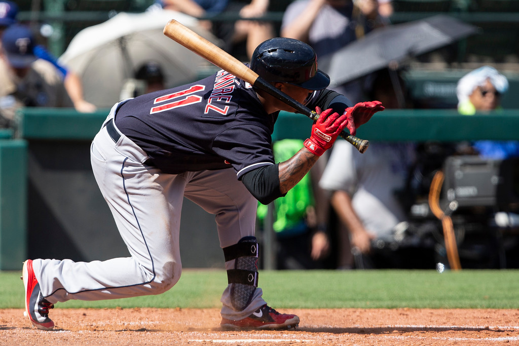 . Cleveland Indians\' Jose Ramirez (11) reacts after being hit by a pitch during the eighth inning of a baseball game against the Texas Rangers, Sunday, July 22, 2018, in Arlington, Texas. (AP Photo/Sam Hodde)