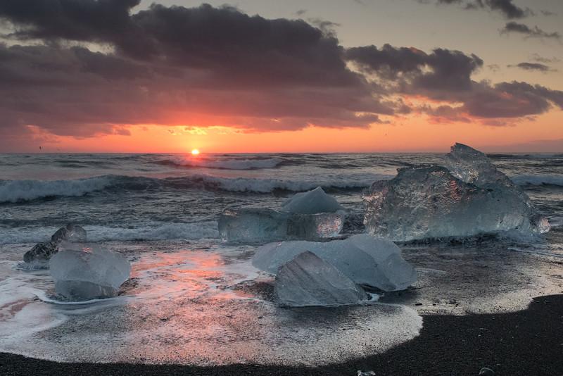 Sunrise and Ice on the Black Sand Beach at Jökulsárlón