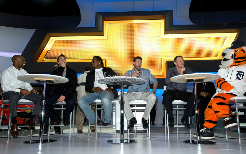 Detroit Tiger players, from left, Austin Jackson, Brennan Boesch, Jose Valverde, Doug Fister, and Max Scherzer answer questions from attendees at the General Motors display during the Detroit auto show on Jan 20, 2012.