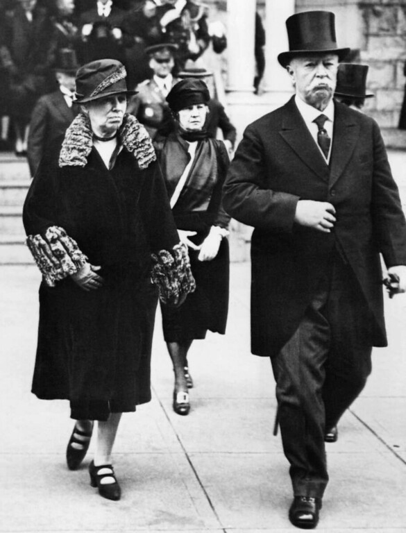 . Chief Justice  William Howard Taft and his wife Helen attend memorial services for Marshal Ferdinand Foch of France on March 26, 1929 in Washington.    Marshal Foch, who died in Paris on March 20, 1929, was credited in the final stages of World War I of helping to bring about the Allied victory.   (AP Photo)