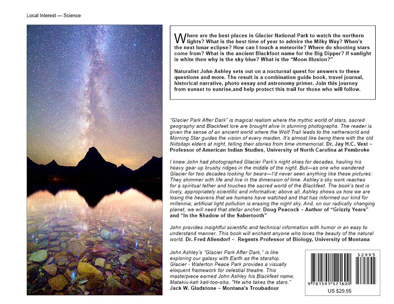 """Glacier National Park After Dark"" Award-winning book!"