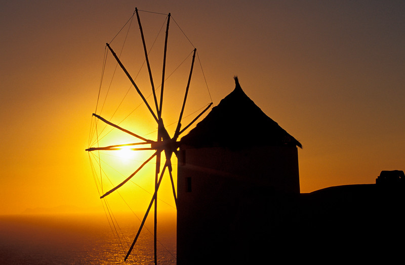 Windmill at Sunset, Santorini