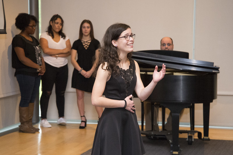 05/13/19  Wesley Bunnell | Staff  The Department of Mental Health and Addiction Services held a kickoff event as part of National Prevention Week 2019 at the New Britain Museum of American Art.  Leah Gaffney from New Britain High School performs a solo for the audience before being joined by her classmates.