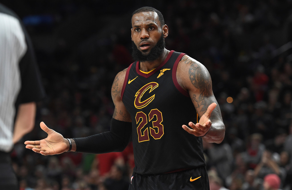 . Cleveland Cavaliers forward LeBron James reacts to an official\'s call during the second half of the team\'s NBA basketball game against the Portland Trail Blazers in Portland, Ore., Thursday, March 15, 2018. The Blazers won 113-105. (AP Photo/Steve Dykes)