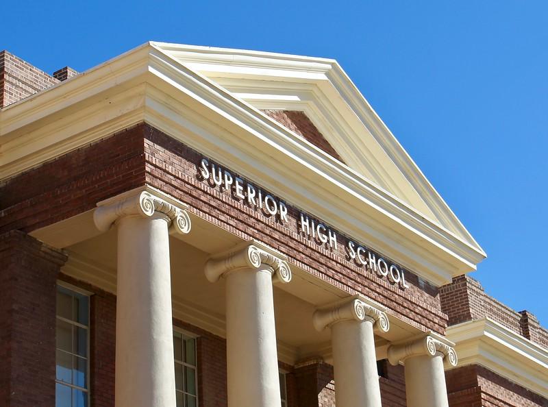 Historic Superior High School facade (2019)