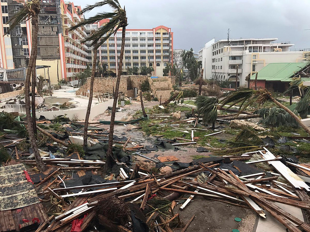 . This Sept. 6, 2017 photo shows storm damage in the aftermath of Hurricane Irma in St. Martin. Irma cut a path of devastation across the northern Caribbean, leaving thousands homeless after destroying buildings and uprooting trees. Significant damage was reported on the island known as St. Martin in English which is divided between French Saint-Martin and Dutch Sint Maarten. (Jonathan Falwell via AP)