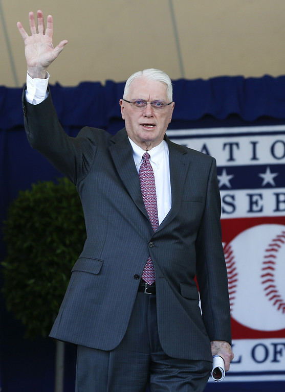 . FILE - In this Sunday, July 24, 2016, file photo, National Baseball Hall of Famer Jim Bunning arrives for an induction ceremony at the Clark Sports Center in Cooperstown, N.Y. Hall of Fame pitcher Bunning, who went on to serve in Congress, has died. Bunning\'s death Friday, May 26, 2017, was confirmed by Jon Deuser, who served as chief of staff when Bunning was in the Senate. (AP Photo/Mike Groll, File)