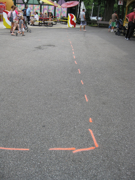 There were markings on the pavement in front of the Kayem Diner. They are for the new Equinox ride.