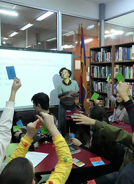 Teenagers at the Yerevan American Corner playing a Thanks-giving trivia game with Natalie