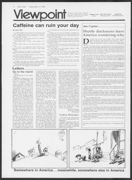 Daily Trojan, Vol. 100, No. 44, March 14, 1986