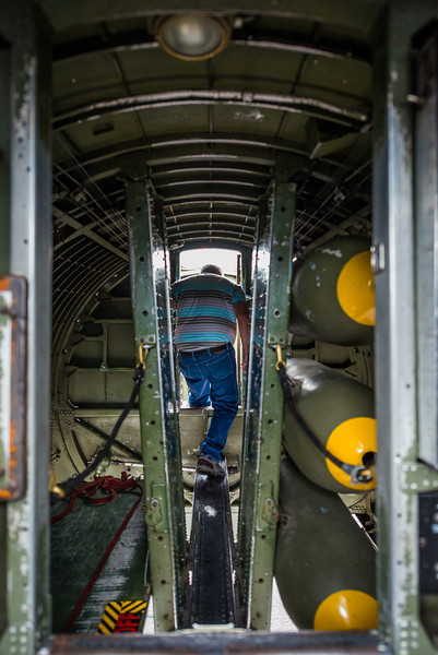 The entrance to the bomb bay, looking back from the top turret station.