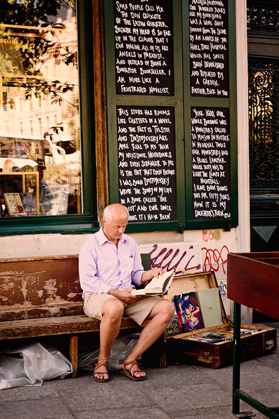Reading in front of the Shakespeare Bookstore in Paris