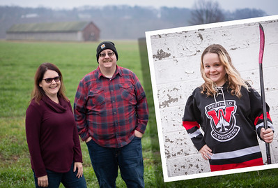 Fisher Christmas Family Session Outdoor Rustic Sports Hockey Kid Barn Tree Farm Nature Fun Playful Candid Happy Cute Formal Portrait Holiday Kimberly Hatch Photography Western Mass New England Photographer Mill Crane Pond Westfield Photo Studio Western Ma