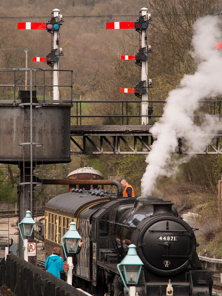 vintage steam locomotive 44871 LMS at Grosmont station,on The North Yorkshire Moors Railway,Yorkshire,UK.taken 12/04/2015