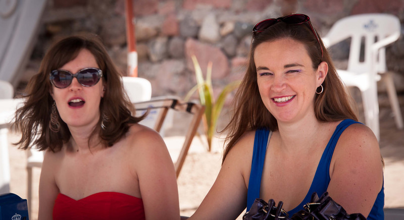 Rachelle and Crystal, fish tacos and likely cerveza and margaritas, on the beach
