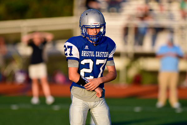 9/14/2018 Mike Orazzi | Staff Bristol Eastern High School's Carson Sassu (27) during Friday night's football game with Middletown in Bristol.