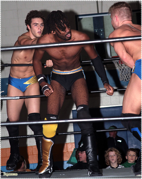"Ricky Archer & Charlie Cashew vs. Xavier Faraday of Oreo Speedwagon during the UFO Wrestling ""Monsters Ball"" show held on October 25, 2019 at the Tynan Community Center in South Boston, Massachusetts."