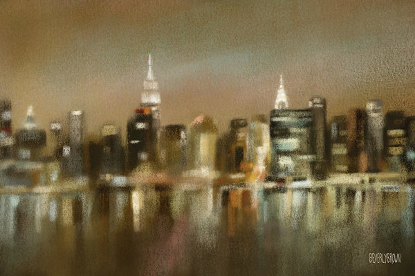 New York Skyline Painting Earth Tone Wall Art by Beverly Brown - Canvas wall art & framed prints for sale at www.beverlybrown.com
