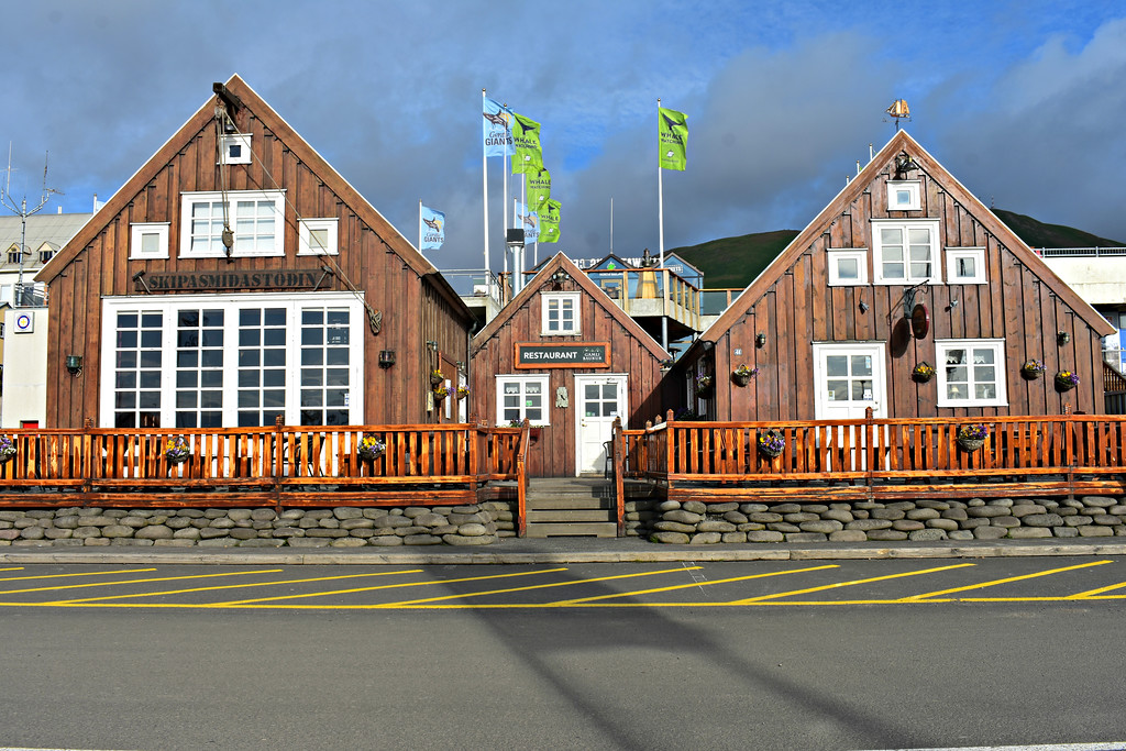 Wooden buildings in Husavik, North Iceland with whale watching flags