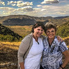 Angie and Roddy and panoramic view withe wine vineyards near Barca d'Alva, Portugal.