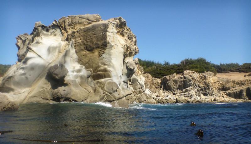 Tafoni sandstone forrmation mark the shoreline